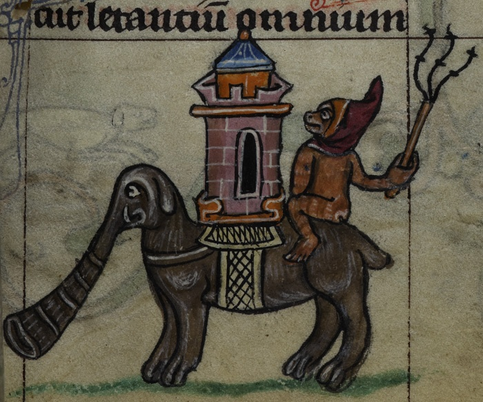 Monkey on elephant with castle. Maastricht Hours, Netherlands (Liège), 1st quarter of the 14th century, Stowe MS 17, f. 36r.