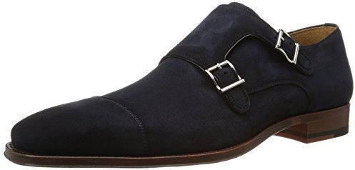 $247, Navy Suede Double Monks: Rimo Oxford by Magnanni. Sold by Amazon.com. Click for more info: http://lookastic.com/men/shop_items/225833/redirect