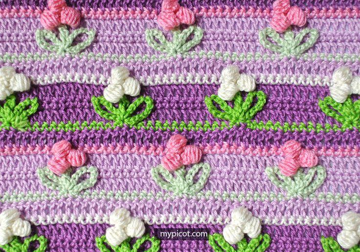Crochet Puff Flower stitch  MyPicot   Free crochet patterns