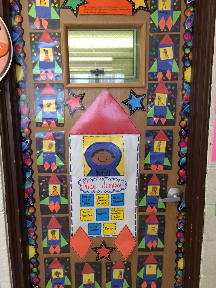 Black History month. Mae Jemison, first black female astronaut. Hung our projects on our classroom door. It looks really cute.