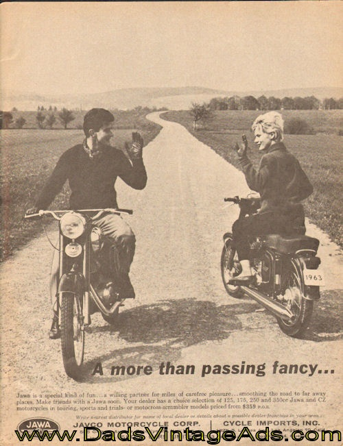 "1964 Jawa motorcycle advertisement – ""A more than passing fancy…"""