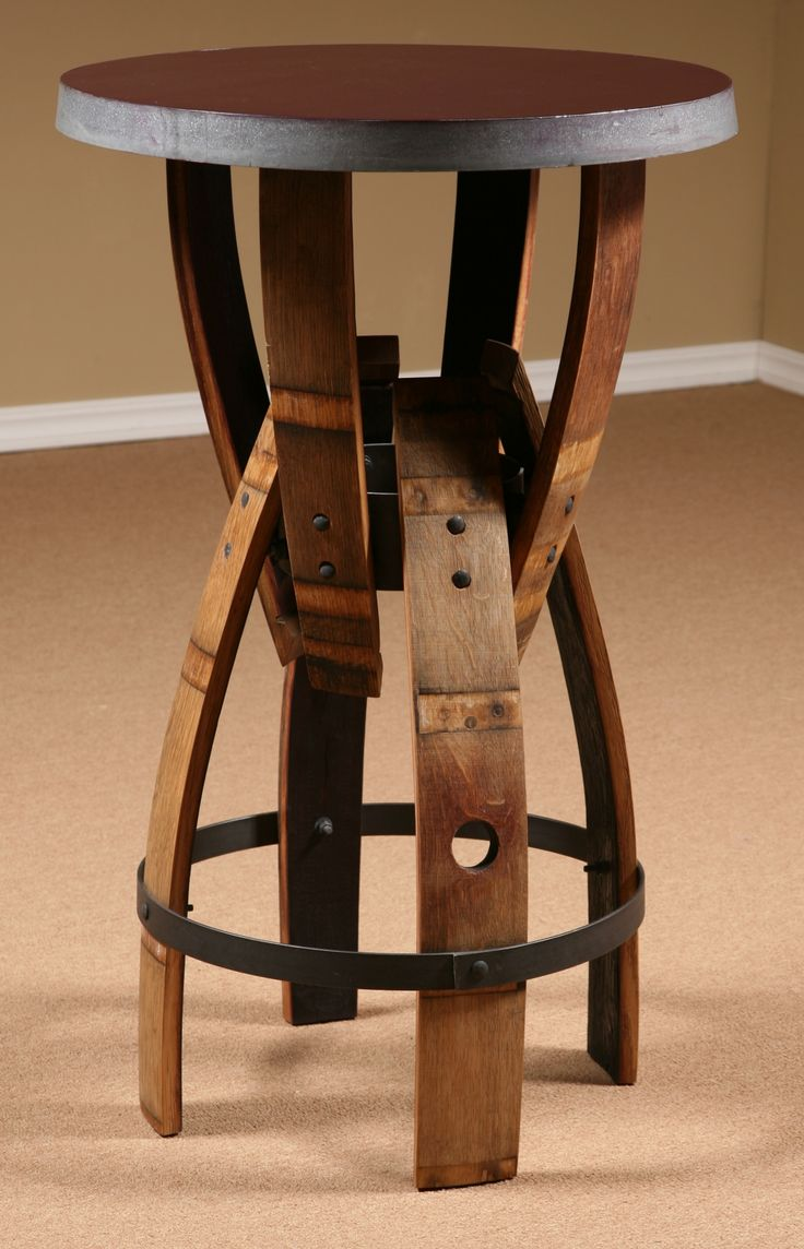 wine barrel furniture | Wine Barrel Stave Furniture, Bar Height Table, stave stool, table ...