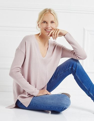 Rib Sleeve V-Neck Jumper - Pink