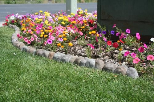 Landecor overlapping rock edger home wild flowers and for Edging flower beds with edger