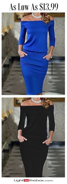 Elegant chic off-the-shoulder dress for formal events or date night. Where would you wear it to? Shop it in blue, black, red colors at $13.99.