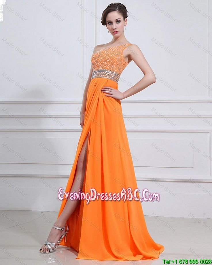 Exquisite Beading and High Slit Orange Evening Dresses with Brush Train