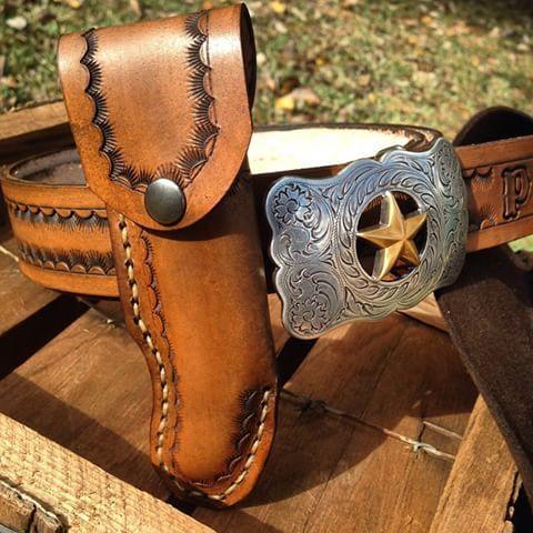 Lone Star Belt with Knife Sheath by Western Dry Goods.  www.westerndrygoods.com Texas Made