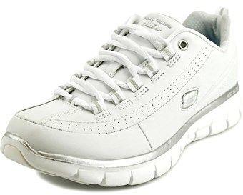 Skechers Synergy Elite Status Women W Round Toe Leather White Sneakers.