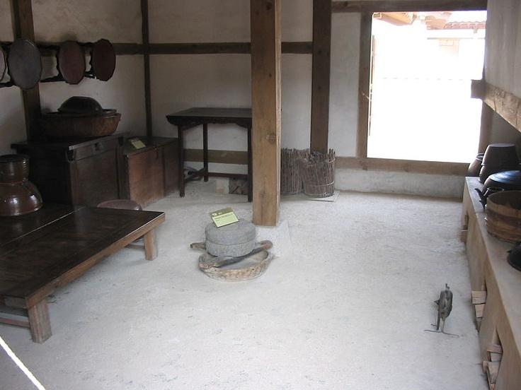 tradtional kitchen showing furniture