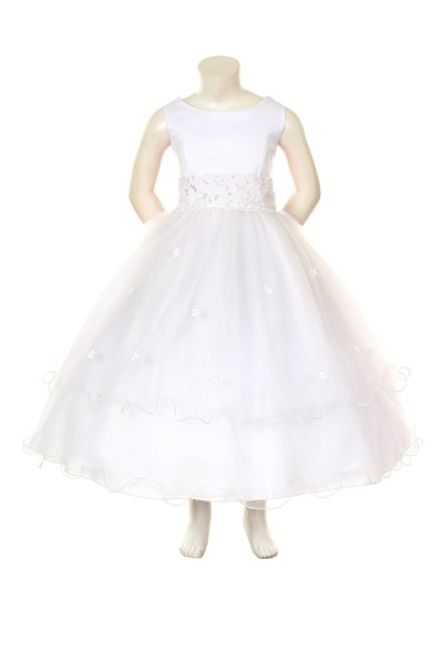 White Satin and Illusion Dress