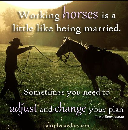 Working horses is a lot like being married. Sometimes you need to adjust and change your plan. ~ Buck Brannaman #cowboywisdom