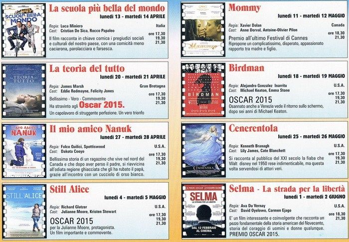 A soli 2 euro, otto bei film tra i migliori della stagione cinematografica 2014-2015, in rassegna alla Sala Margherita di Putignano, il lunedì e martedì dal 13 maggio al 2 giugno 2015