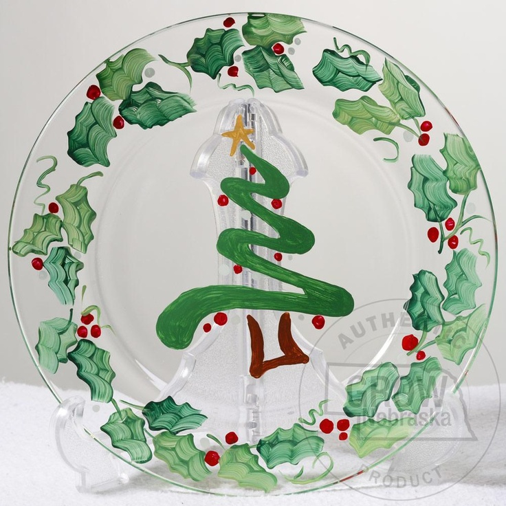 "Creative Hand Christmas Tree and Holly Hand Painted Plate: This Christmas tree and holly hand painted clear glass plate is the perfect holiday decoration.Clear 9"" plate. Hand wash. Each hand painted plate may vary slightly from photo. $15.95"