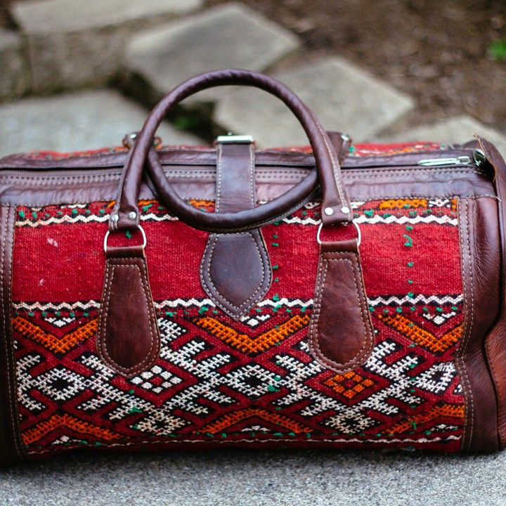 Moroccan Leather and Carpet Weekender Bag from Trouvaille Boutique