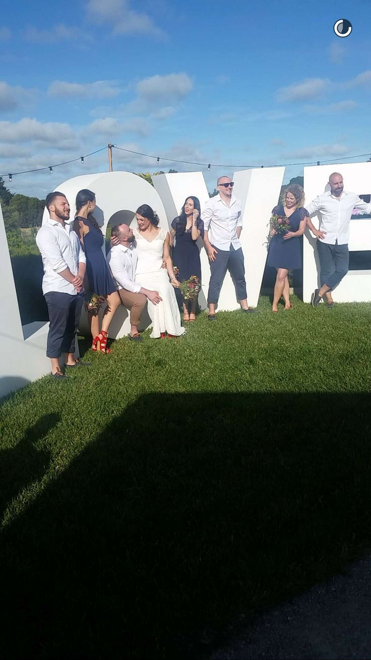 Our beautiful bridal party on the LOVE LIGHT LETTERS