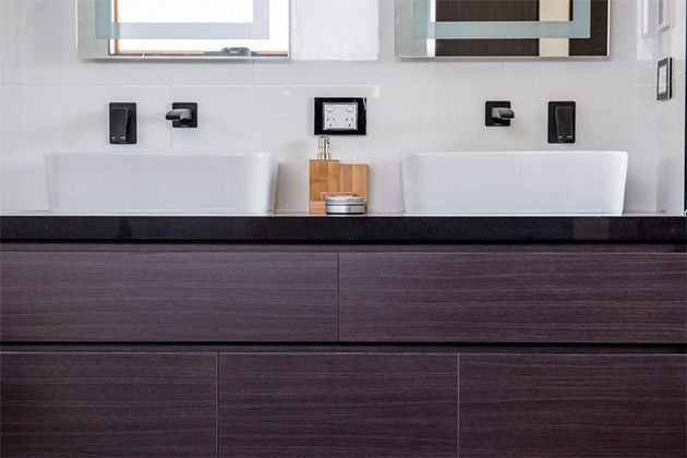 House Rules - VIC Reveal  Ensuite  Rifco Matisse vanity with 40mm Caesarstone top