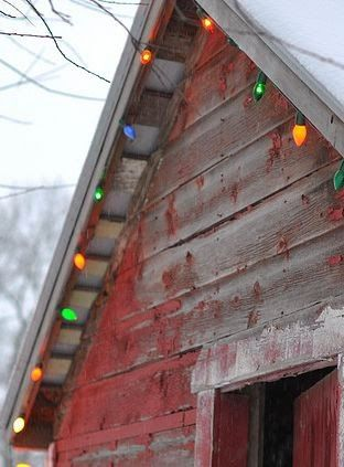 Merry Christmas on a red chippy barn