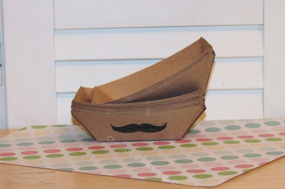 10 Mustache Kraft Food Trays Tray Boats Carnival Picnics BBQ Wedding Kids Birthday Party Supplies Baby Shower Paper Goods Small Size