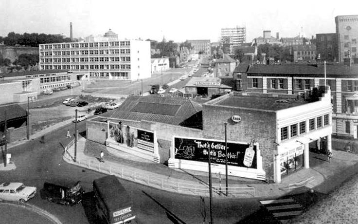 The Astoria Garage, junction of Greyfriar Gate and Canal Street, Nottingham, looking towards the new Maid Marian Way, 1960s.