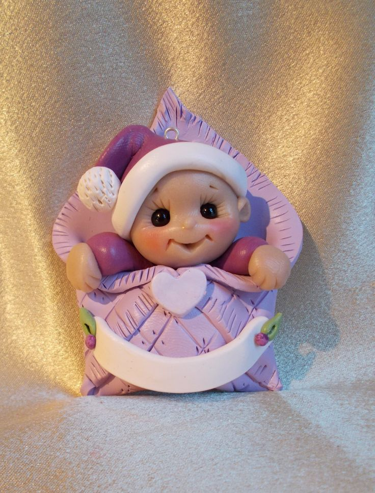 Baby's first Christmas Ornament  Personalized Baby Gift lavendar Polymer Clay Baby Shower Gift. $17.95, via Etsy.