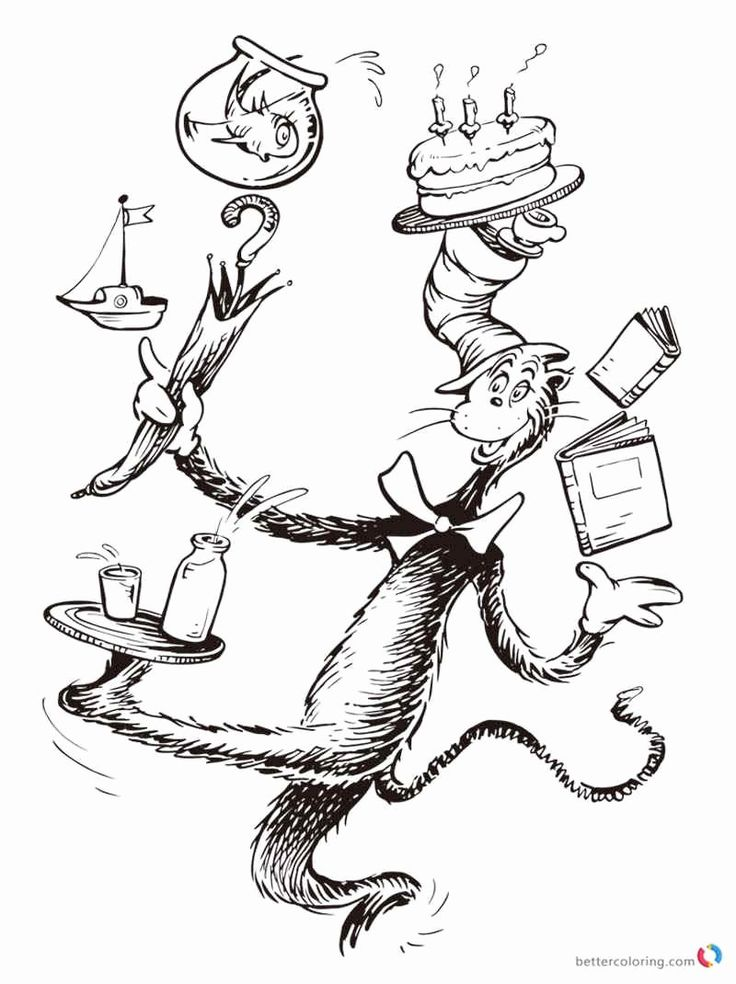 21++ Cat in the hat coloring pages for preschool ideas