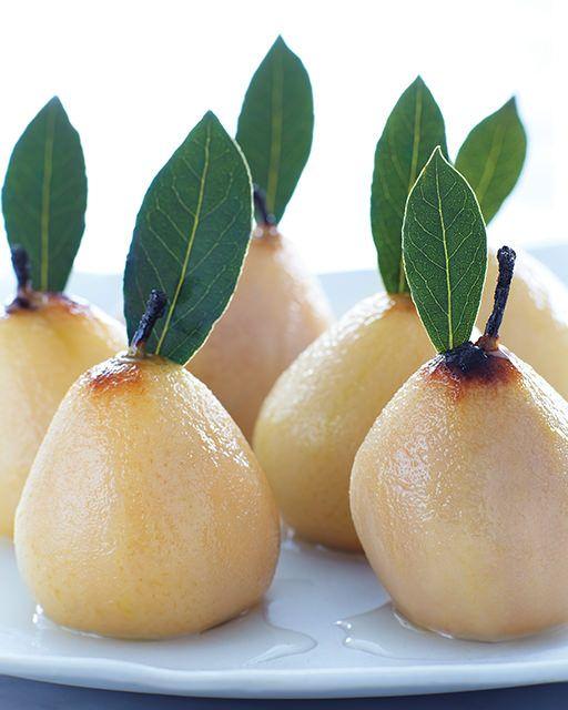 pears poached in sweet dessert wine