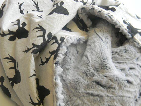 Großen Minky Baby Decke Baby Boy Decke schwarz von SandHCreate