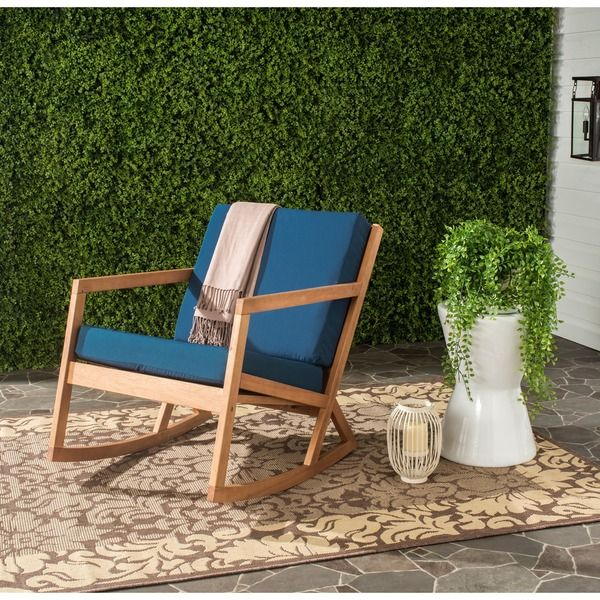 Safavieh Outdoor Living Vernon Brown/ Navy Rocking Chair , Blue, Size  Single, Patio Furniture (Wood)