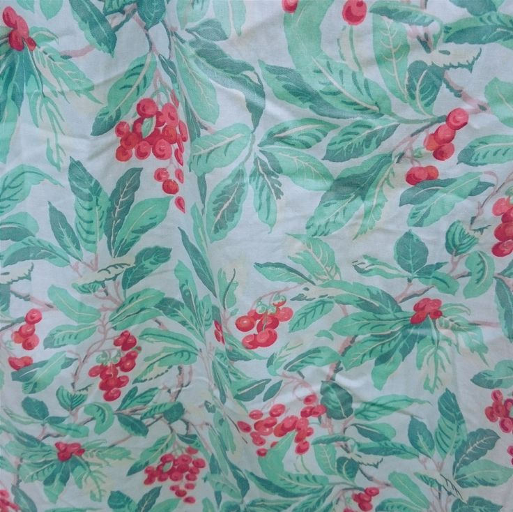DEER AND FAWN | Vintage Laura Ashley Curtains in Leaves and Berries Cotton Chintz by DeerandFawn on Etsy