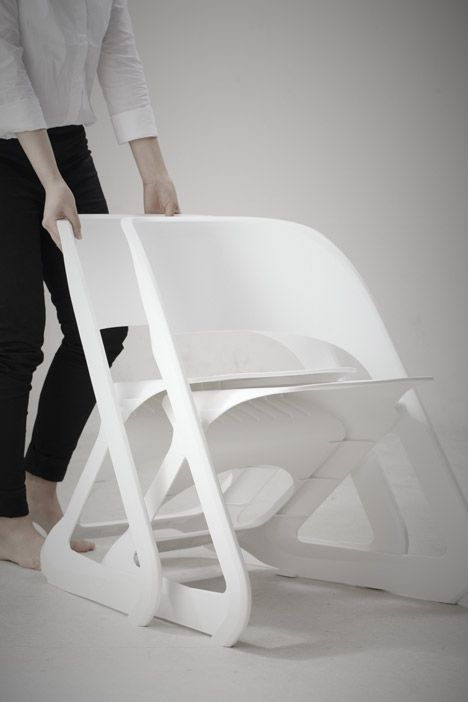 These chairs slide together to stack horizontally.
