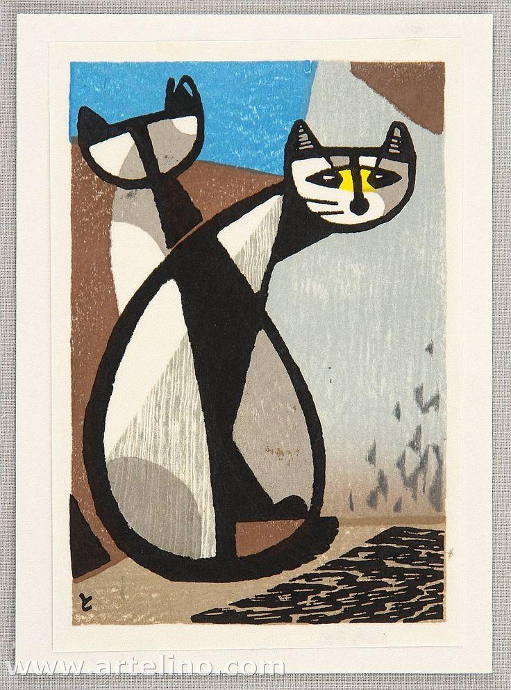 Tomoo Inagaki (Japan, 1902 - 1980) - Two cats - Afficher l'image d'origine