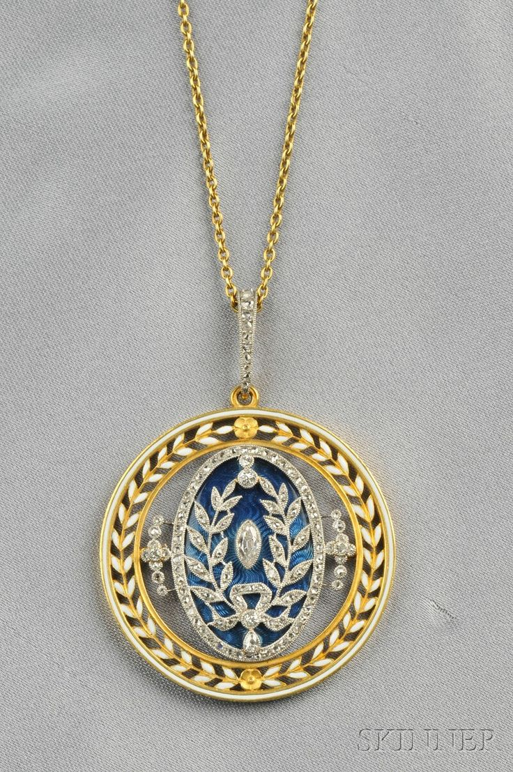 Edwardian Enamel and Diamond Pendant, L. Gautrait, France, the guilloche enamel panel set with marquise- and rose-cut diamonds, foliate frame, and rose-cut diamond bail, platinum and 18kt gold mount, dia. 1 1/2 in., maker's mark and guarantee stamps, signed.