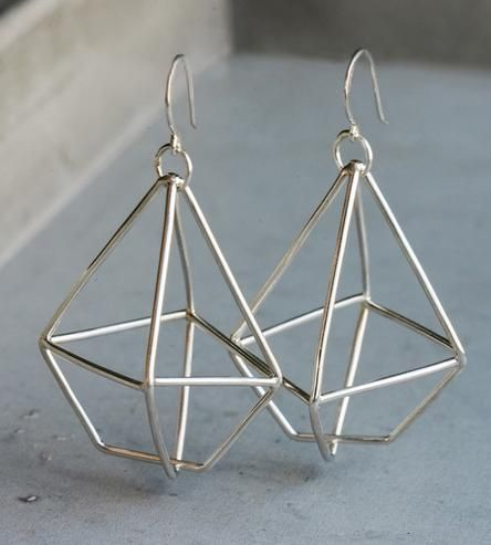Diamond Wire Sterling Silver Earrings