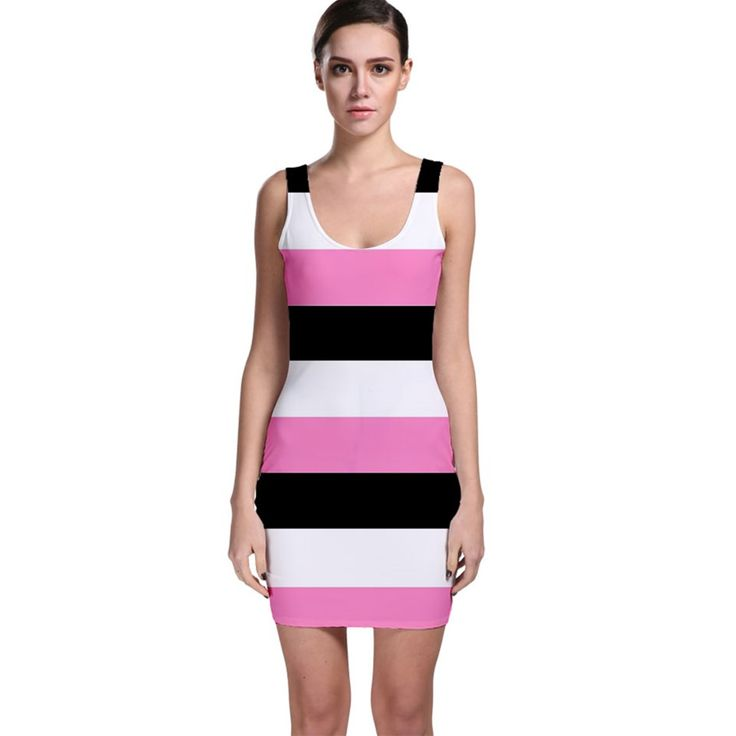 Sleeveless Black, pink and white Bodycon Dress by Khoncepts