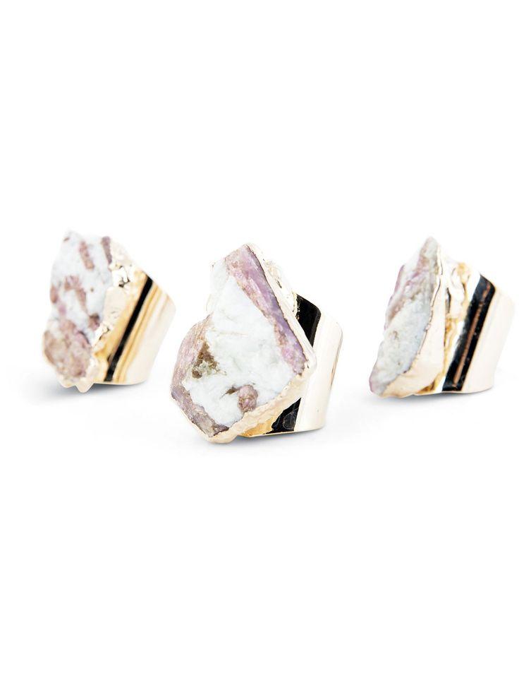 Pink Tourmaline Raw Gemstone Ring - Gold