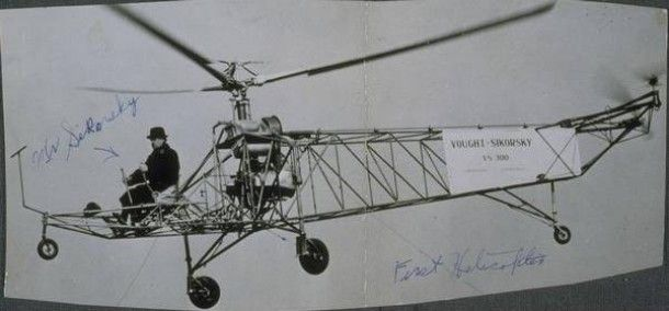 Igor Sikorsky and the first successful helicopter built in America, Stratford - Image courtesy of the Connecticut Historical Society -- Igor Sikorsky and his Flying Machines -- Read more at ConnecticutHistory.org: http://connecticuthistory.org/igor-sikorsky-and-his-flying-machines/