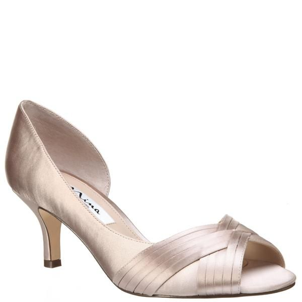 Contesa Champagne Satin Nina Bridal Shoes Peep Toe Pumps Wedding Shoes
