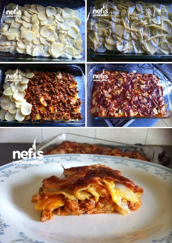 Patatesten Kıymalı Çok Kolay Lazanya