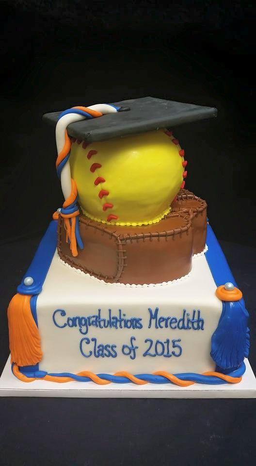 Cookie Jar Bakeshop I Custom Cakes I Gator Graduation Cake I UF Graduation Cake I Orange & Blue Graduation Cake I Baseball Themed Cake I Softball Themed Cake