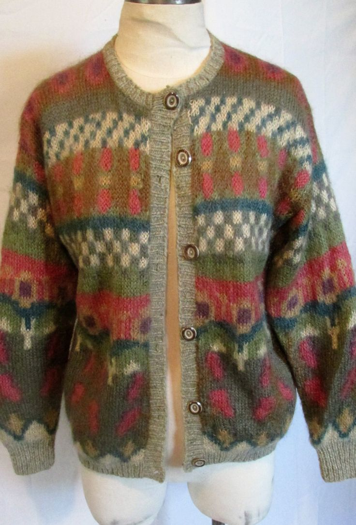 Vintage Mohair Sweater Fully Lined Wool Cardigan Multi Color Jewel Tone Ski Sweater Nordic Sweater Christmas Gift Size Large by alchemy2 on Etsy