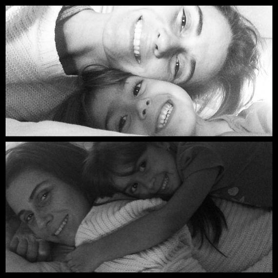 Giovanna Antonelli postou uma montagem com as filhas, na cama, na manhã de hoje, sem maquiagem.