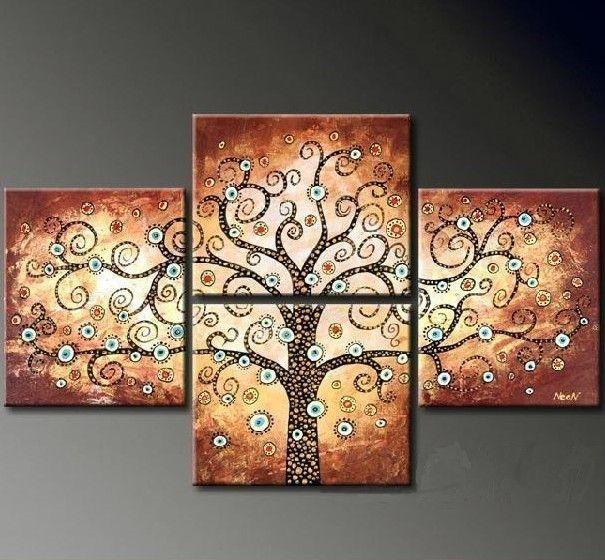 Pintado m o pintura abstrata moderna de 4 pe as a leo sobre tela da rvore de sorte quadros - Cuadros para dormitorios rusticos ...