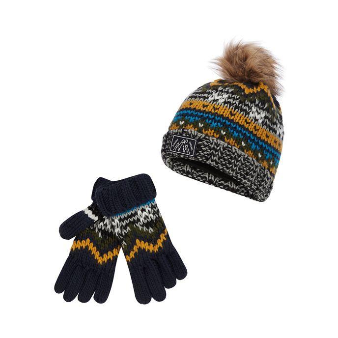 cf543505e31 Mantaray Boys  multicoloured Fair Isle beanie and gloves set ...