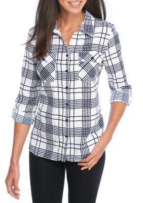 Kim Rogers Women's Roll Sleeve Printed Utility Shirt - Navy Grim - Xl