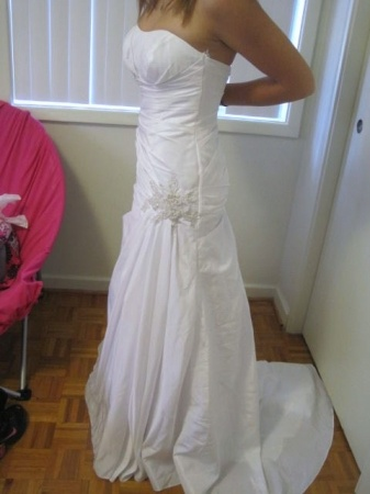 David's Bridal Side-draped Fit & Flare Gown With Applique Details. Wg3032