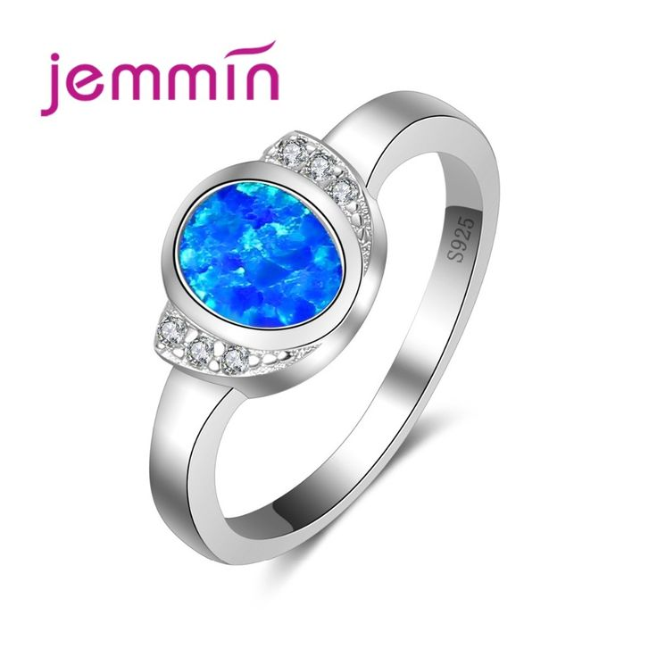 Jemmin Wholesale Engagement Rings For Women With Blue Fire Opal Stone Simple 925 Sterling Silver Wedding Ring For Brides Jewelry #Affiliate