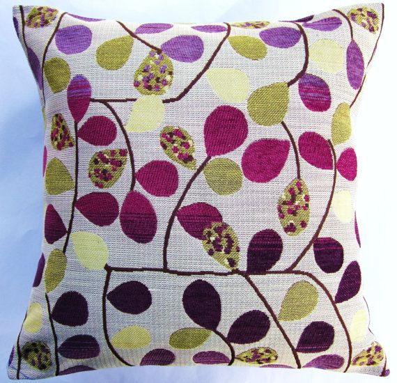 Purple Throw Pillow Cover -- Pots of Purple and Gold Cushion Cover - 18 x 18