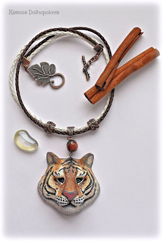Polymer clay pendant with the tiger  Wild nature by Polyclaydesign