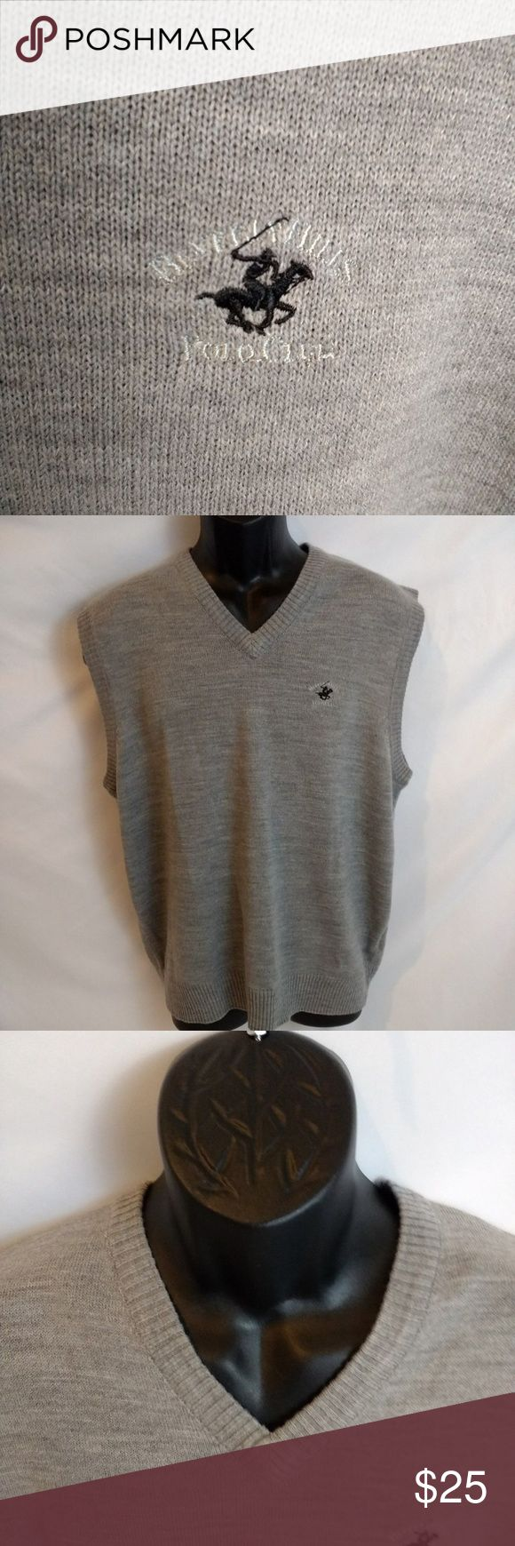 Beverly Hills Polo Club Men's 100% Acrylic Grey L Brand- Beverly Hills Polo Club  Size- Large L  Color- Grey  Pet Free Home/Smoke Free home  Measurements:   Length- 26 inches  Pit to Pit- 19 inches  Shoulder To Sleeve- 5 inches  T1 Beverly Hills Polo Club Shirts Polos