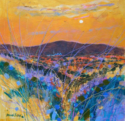 """Hot harvest sunset"" by Deborah Phillips (Archive gallery) - Acrylic"